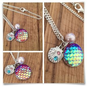 Mermaid charm pendant rhinestone pearl shell necklace mermaids holographic
