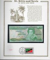 East Caribbean Banknote 5 Dollar 1985 P 18k  UNC  w/FDI UN FLAG STAMP St. Kitts