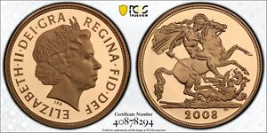 2008 £2 Two Pound Gold Proof Double Sovereign Coin PCGS PR69 Deep Cameo