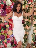 New Sexy White Lace Cocktail Evening Formal Womens Floral Lace Dress  8,10,12