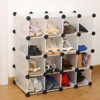 16 Pairs Interlocking Shoe Organizer Storage Shelves Rack Holder Display Stand