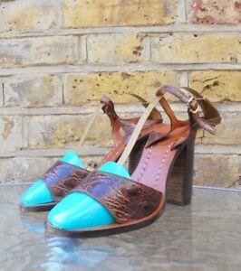 Chloe Brown Crocodile Effect Open Toe Ankle Strap Block Heel Shoes UK 4.5 EU 37