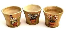 Clearance - PartyLite Terra Cotta Flower Pot Tea Light Candle Holders - Lot Of 3