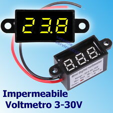 Impermeabile Voltmetro 3.5-30V DC Digitale Giallo LED Display da Panello Tester