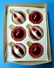 """CHRISTMAS VINTAGE 1980's MERCURY GLASS BAUBLES RED and WHITE STRIPES """"FESTIVE"""""""