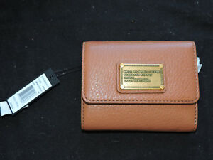 Marc By Marc Jacobs Smoked Almond Brown Tri Fold Pebbled Leathe Small Wallet NWT