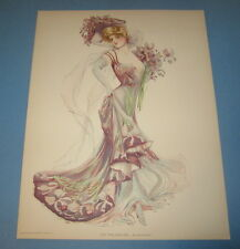 Old Vintage 1907 - Antique VICTORIAN PRINT - New York Show Girl - KNICKERBOCKER
