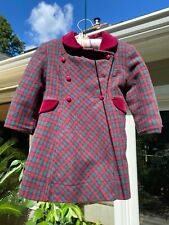 Rothschild Red and Green Plaid Dress Coat Girls Vintage Size 3 Holiday With Hat