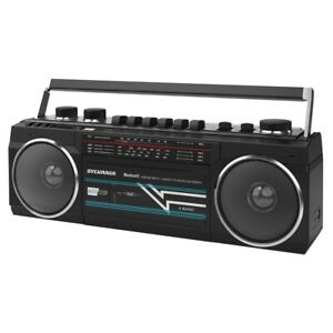 Cassette Player Boombox with FM Radio MP3 Black Retro SYLVANIA Bluetooth