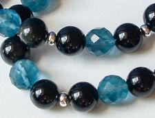 OBSIDIAN (Regenbogen-Obsidian) mit FLOURIT (Natur)  Armband   in schwarz - blau