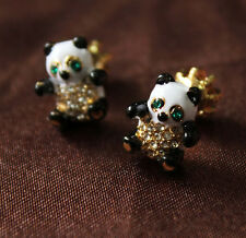 Costume Fashion Earrings Studs Enamel Black White Panda Cute Retro Vintage N2