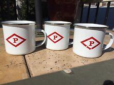 Powers Irish Whiskey Porcelain Enamel Coffee Mug Lot Three White Red