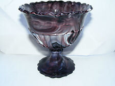 George Davidson Purple Malachite Marble Patterned C1900 Glass Footed Bowl Ht 5""