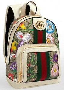 Gucci Ophidia Flora Beige White Leather Canvas Backpack Handbag Bag Italy NEW