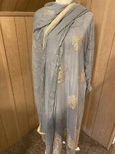 Indian/Pakistani Salwar Kameez DUPPATa L/XL Partywear Dress Gray #Sale