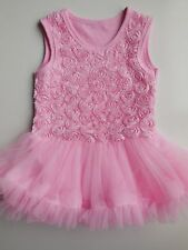 BABY TODDLER GIRL PINK ROMPER TUTU DRESS BODYSUIT SIZE S FITS 18-24M