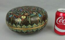 Antique Large Chinese Cloisonne Round Covered Box W Flowers 19th C.