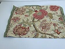 """Standard Size Floral Pillow Sham Red Coral Gold Sage Green Reversible 20x25.5"""""""
