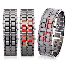 Black Digital Lava Wrist Watch Iron Metal Red LED Metal Samurai Mens DRUS