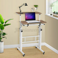 Home Office Adjustable Height Sit & Stand Mobile Laptop PC Table Computer Desk