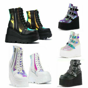 Ladies Womens Goth Punk Chunky Wedge High Heel Platform Shoes Ankle Boots Size
