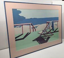 Vintage 80s Modern Art Signed Lithograph Filippo Quaretti California Beach Frame