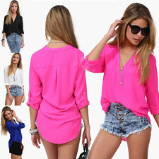 Hips V-Neck Regular Size Chiffon Tops & Shirts for Women