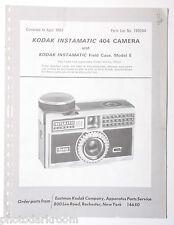 Kodak Instamatic 404 Camera & Case Model E Parts List 769284 1967 - ORIGINAL B27