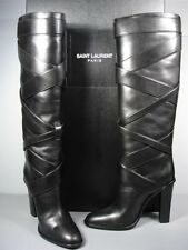 SAINT LAURENT YSL STRIPED BLACK LEATHER ROUND TOE PULL ON KNEE HIGH BOOTS 38 NEW