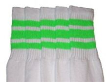 """25"""" KNEE HIGH WHITE tube socks with NEON GREEN stripes style 1 (25-66)"""