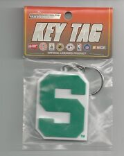 Michigan State Spartans Rubber Keychain Laser Cut Rubber Key Tag Keychain New