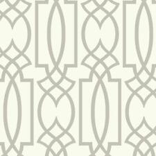 Wallpaper Designer Large Gray Imperial Trellis Lattice on White
