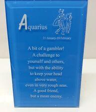 "AQUARIUS Zodiac Glass Plaque ""NEW"""
