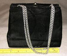 """7-1/16"""" Vtg. Black Velvet Evening Bag, Silvertone Hardware & Strap, Vinyl Inter"""