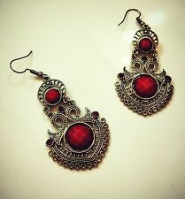 Red classy ethnic drop earrings women luxury crystal shine double medium metal