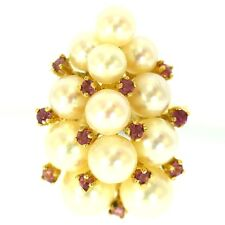ESTATE PEARL & RUBY RING 14K YELLOW GOLD ROUND GOOD LUSTER FINE LARGE CLUSTER