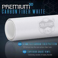 3D Premium Matte White Carbon Fiber Overlay Vinyl Wrap - Bubble Free Air Release