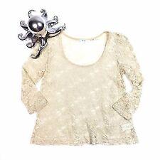 Anthropologie Kimchi Blue Lace Over Shirt Off White Festivals Boho Hippie XS