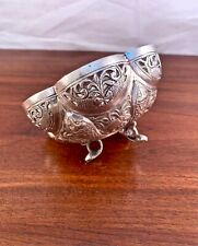 INDIAN SOLID STERLING SILVER BOWL HAND CARVED FISH & ANIMAL SCENES 82G