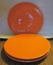 """3 CRATE & BARREL Bread Plates - Orange 6-3/4"""", Dessert or Side Plates"""
