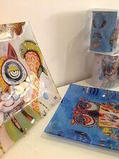Piatto quadrato svuotatasche centrotavola piatto vetro gufo civetta Allen Design