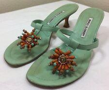 Manolo Blahnik T-Strap Sandals Womens 8.5 US 39 EU Aqua Leather Bead Kitten Heel
