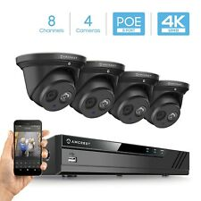 Amcrest 4K 8CH Security IP Camera System POE NVR 4 X 8MP Turret Outdoor Home BLK