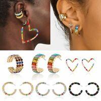 Fashion Geometric Round Heart Crystal Ear Stud Earrings Party Women Jewelry Gift
