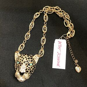 Betsey Johnson Gold Tone True Leopard Pendant Necklace Crystal NWT