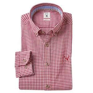 pure Trachtenhemd Slim Fit Baumwolle Button Down Kariert Blau Rot Grün XS-XXL