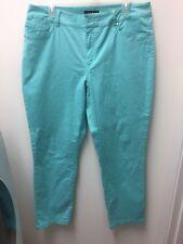 Women Tribal Long Pants Jeans Solid Blue Straight Leg Stretch Size 12