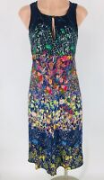 Maeve ANTHROPOLOGIE 100% Silk Floral Larkspur Midi Dress Sz 0 XS