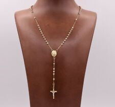 """17"""" 3mm Rosary Chain Medal Cross Crucifix Necklace Real 14K Tricolor Gold"""