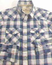 Hollister Men's L/S Pearl Snap Button Shirt M Medium Western Blue Check EUC